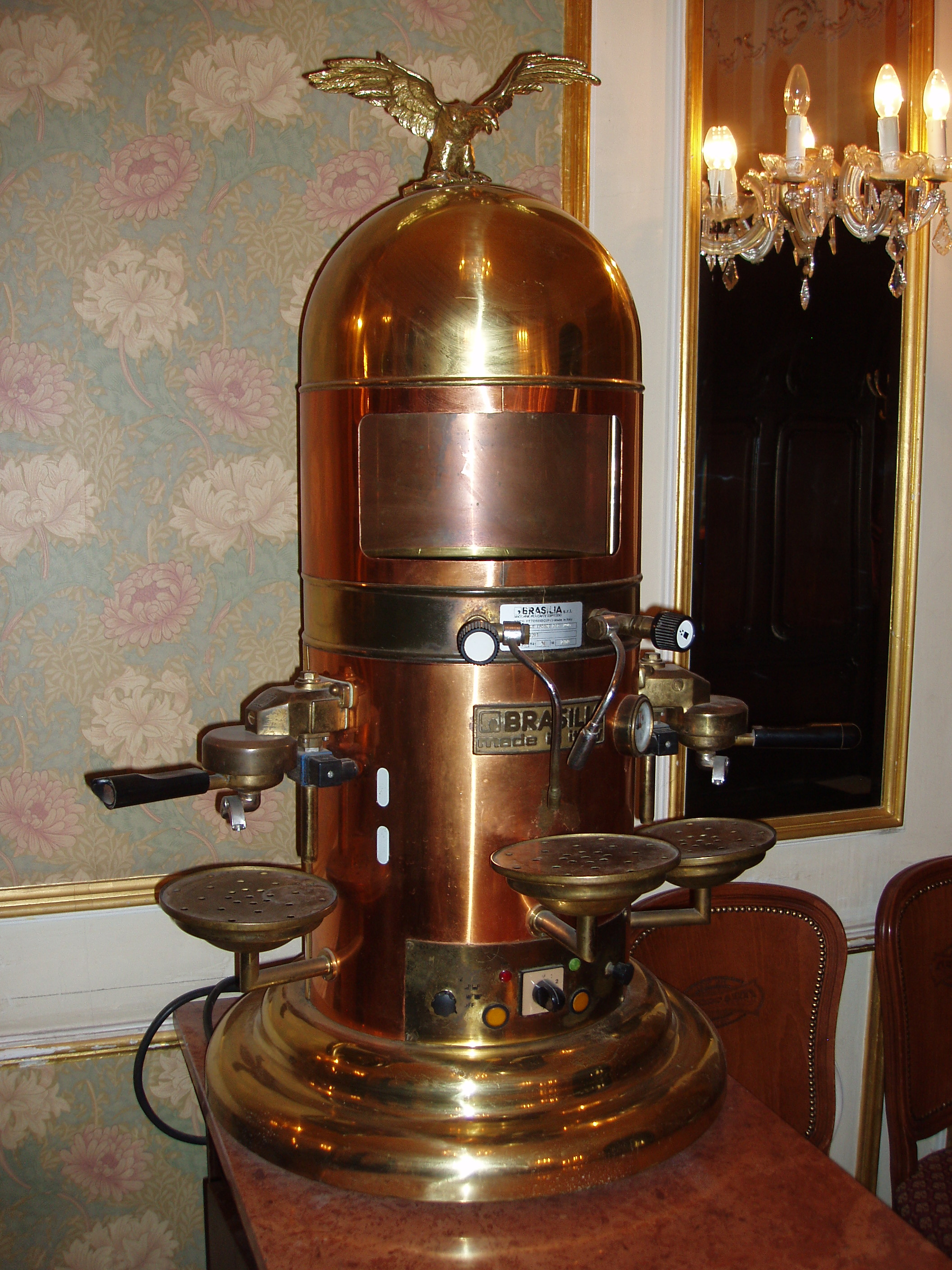 An antique espresso maker in Cafe' Gerbeaud.